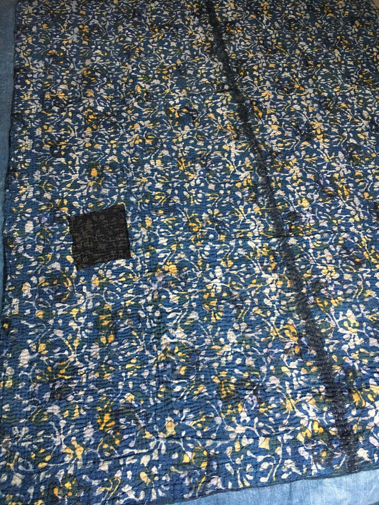 indigo blue bedspread vintage indian block print kantha throw quilt bedcover yellow pattern
