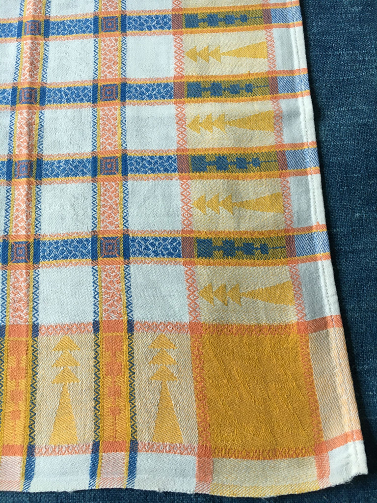 vintage french napkins serviettes table linen yellow blue check basque cotton summer