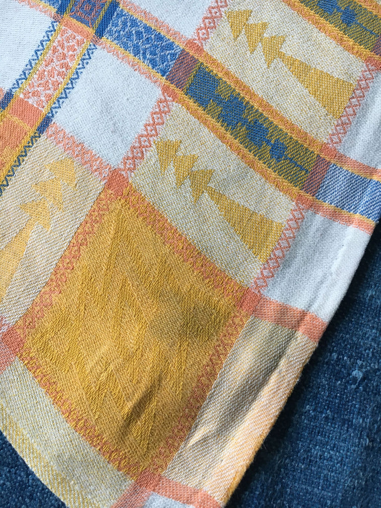 country style vintage french napkins serviettes table linen yellow blue check basque cotton