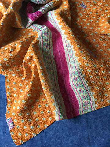 vintage indian kantha sari quilt throw bedspread bedcover orange pink patches liberty print