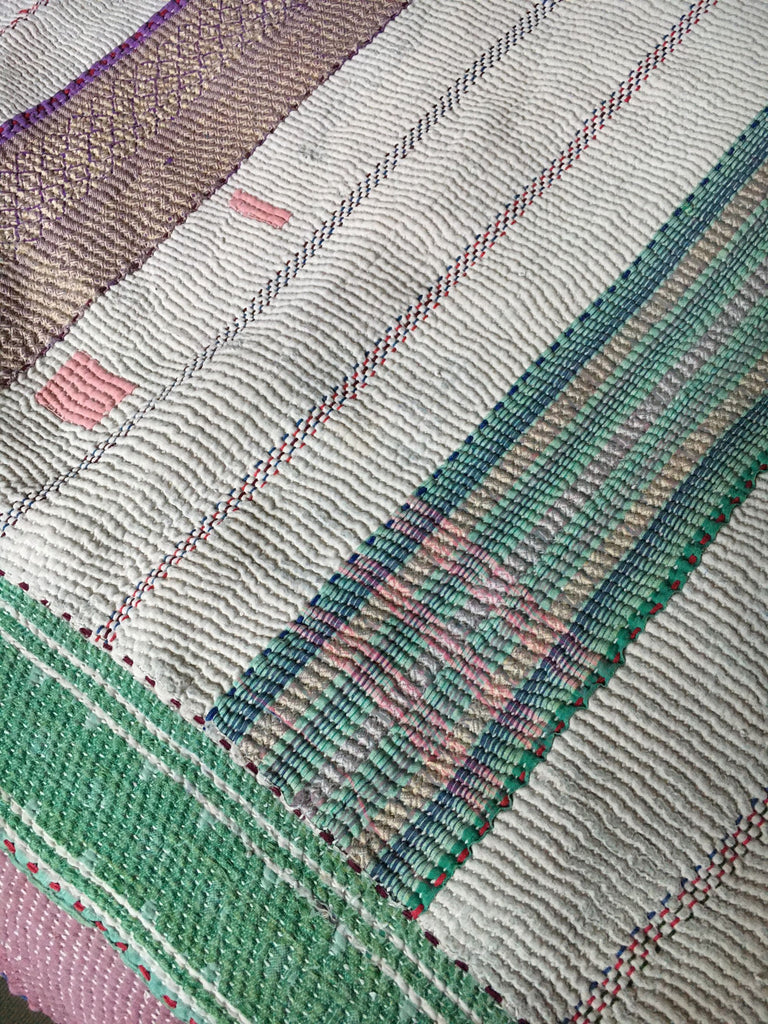 machine washable reversible white green lilac vintage kantha throw quilt bedcover bedspread