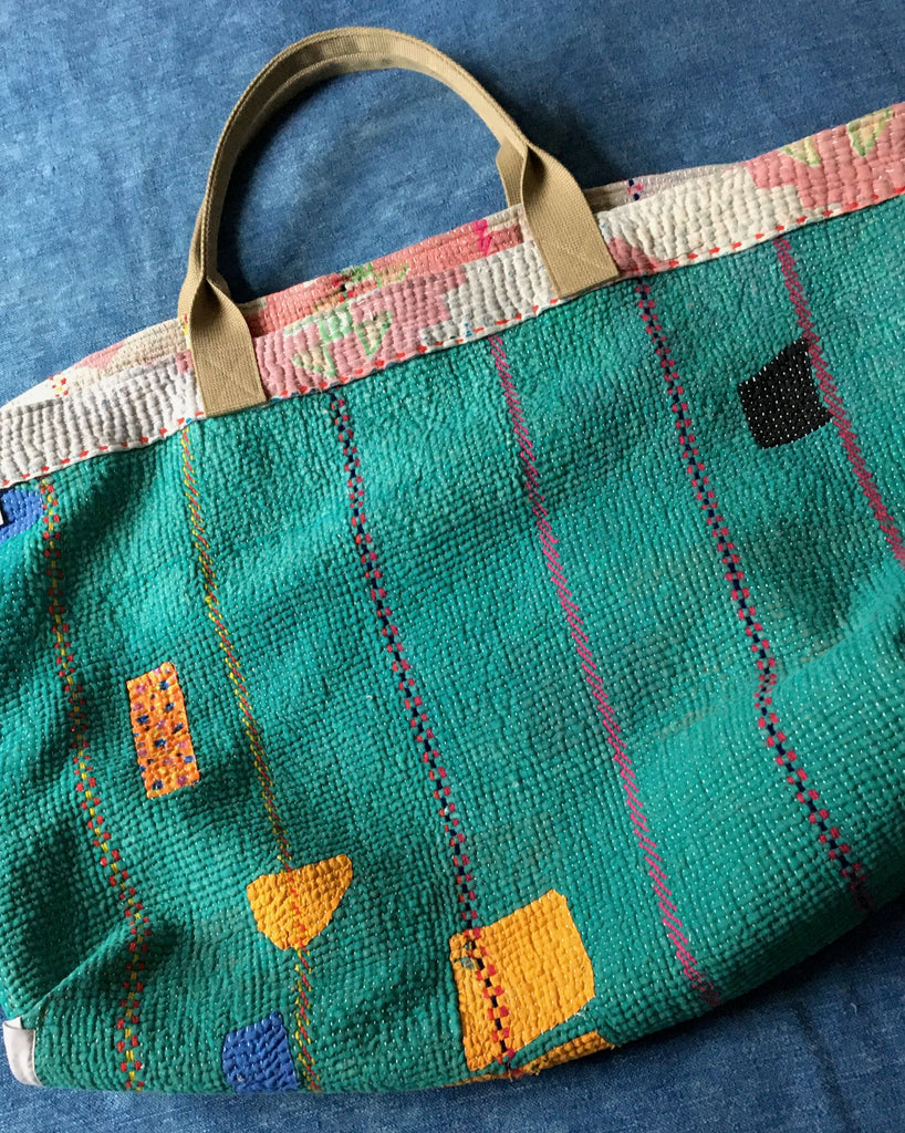 pink green patterned cotton tote beach bag large kantha market bag