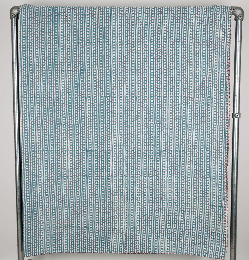 Blue stripe and dot kingsize bedspread