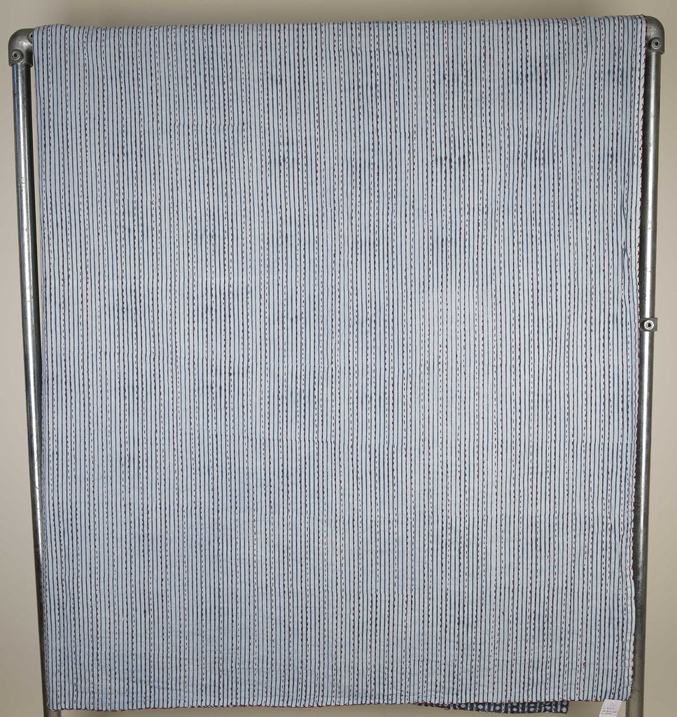 Blue stripe and dot kingsize bedspread - reverse side