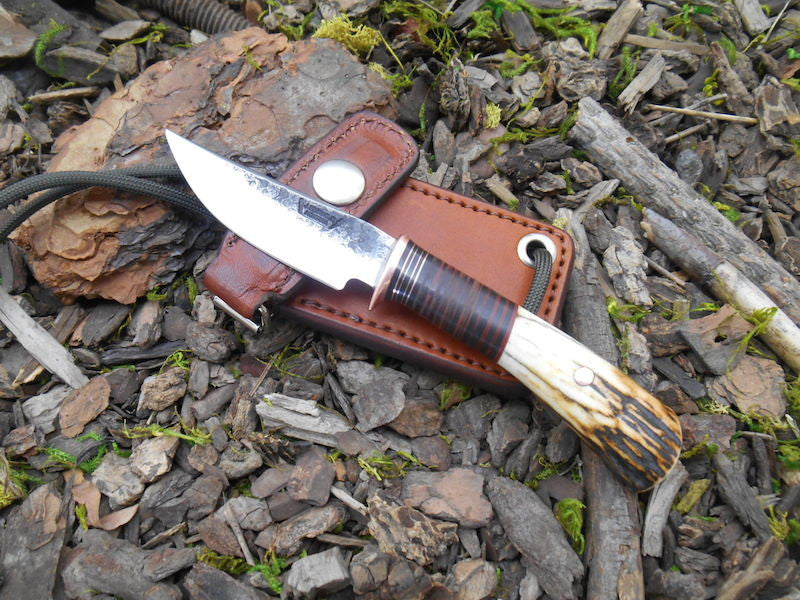 Horsehide and Sambar Stag Neck Knife