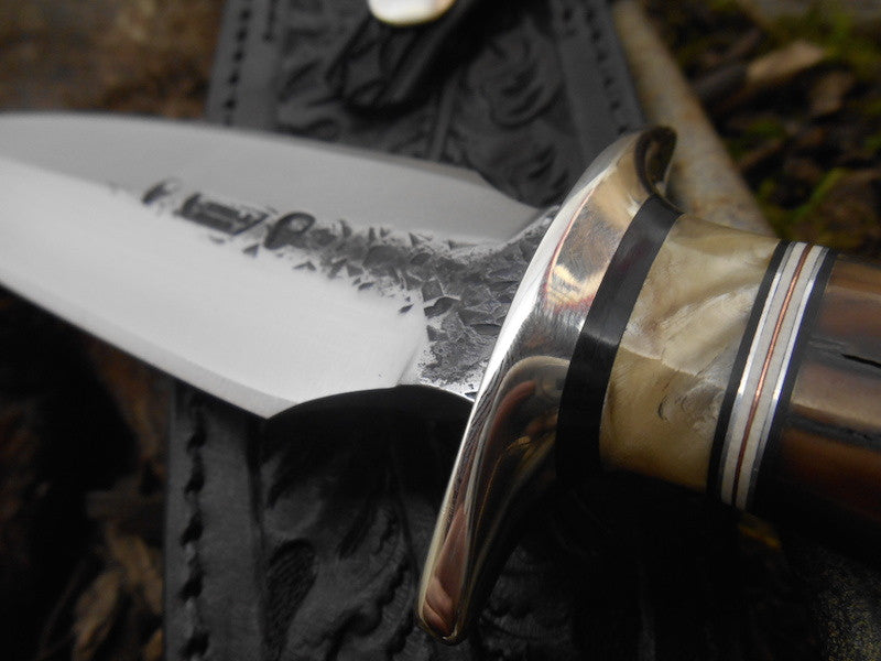 Black Fossil Walrus Ivory Double-Edge Fighter