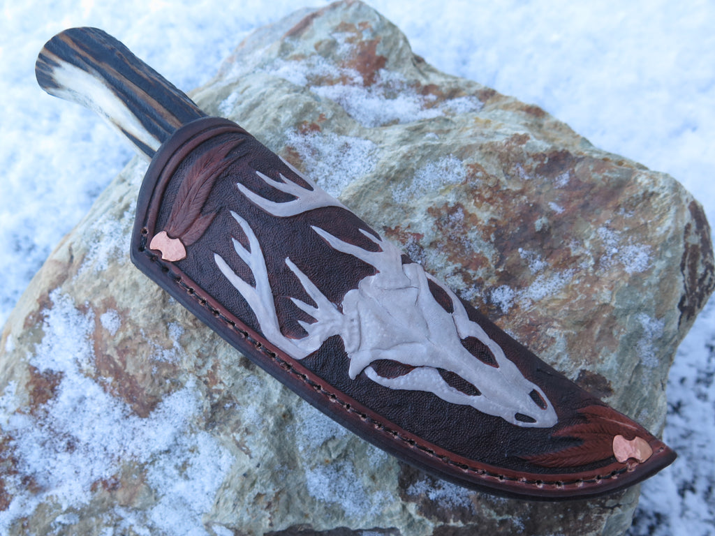 Sambar Stag Trout and Bird in Mudbone Leather
