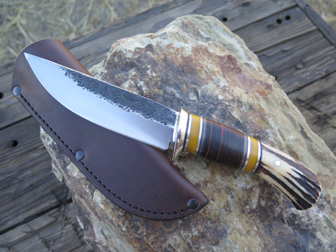 Sambar Stag and Horsehide Classic Drop Point