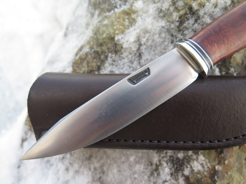 Premium Amboyna Burl Stainless Drop Point