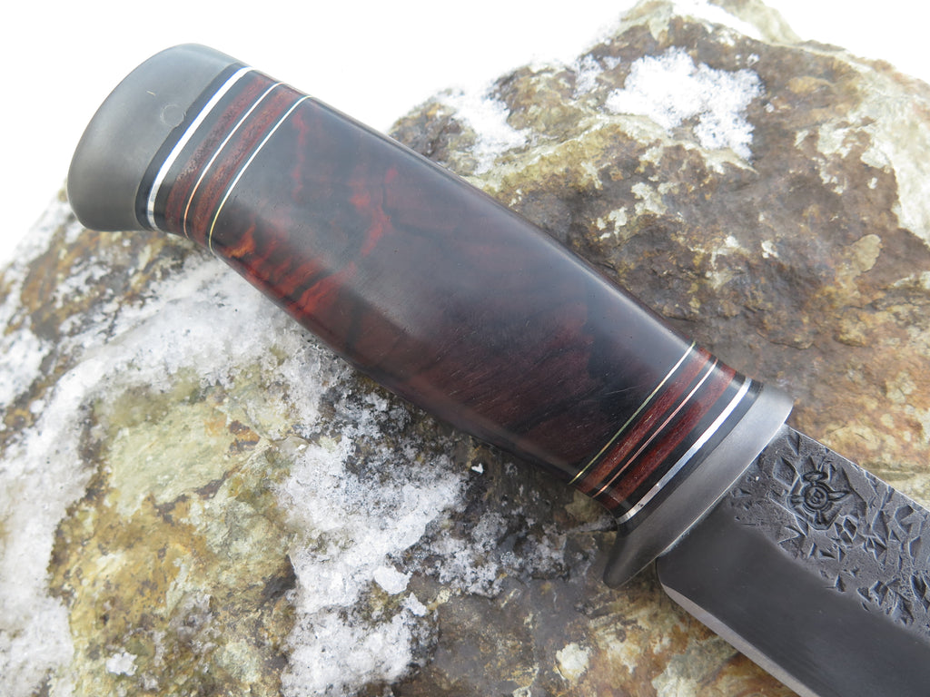 Premium Cocobolo and Horsehide Blued Drop Point