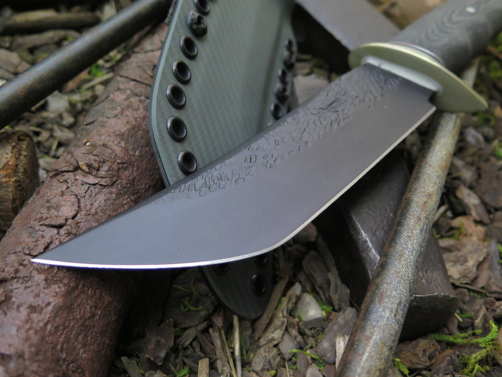 Black Fingergrip Micarta Modified Tanto