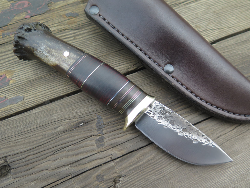 Crown Stag and Horsehide Sharptail Drop Point