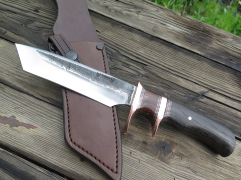 Bog Oak and Mammoth Rib Tanto