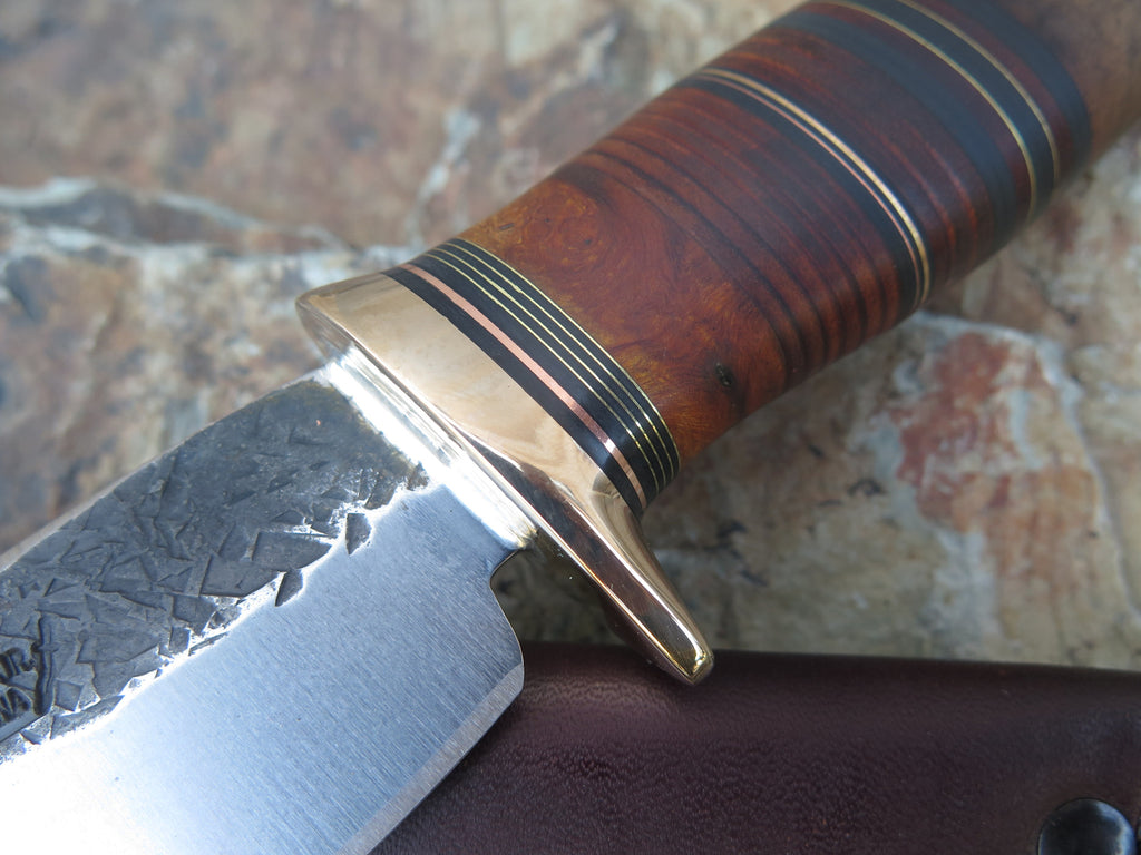 Walnut, Ironwood & Bronze Drop Point