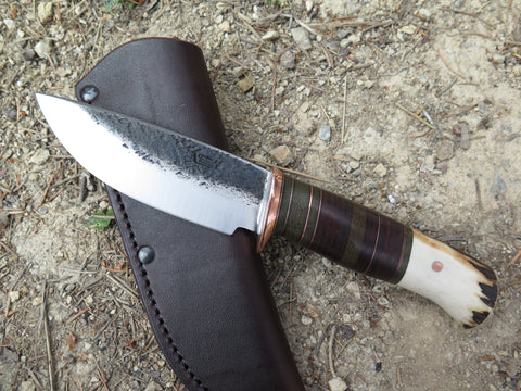 Premium Sambar Stag and Horsehide Drop Point