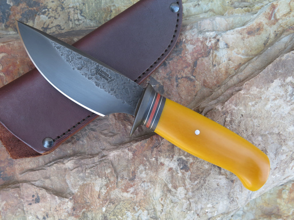 Yellow Micarta Blued Drop Point