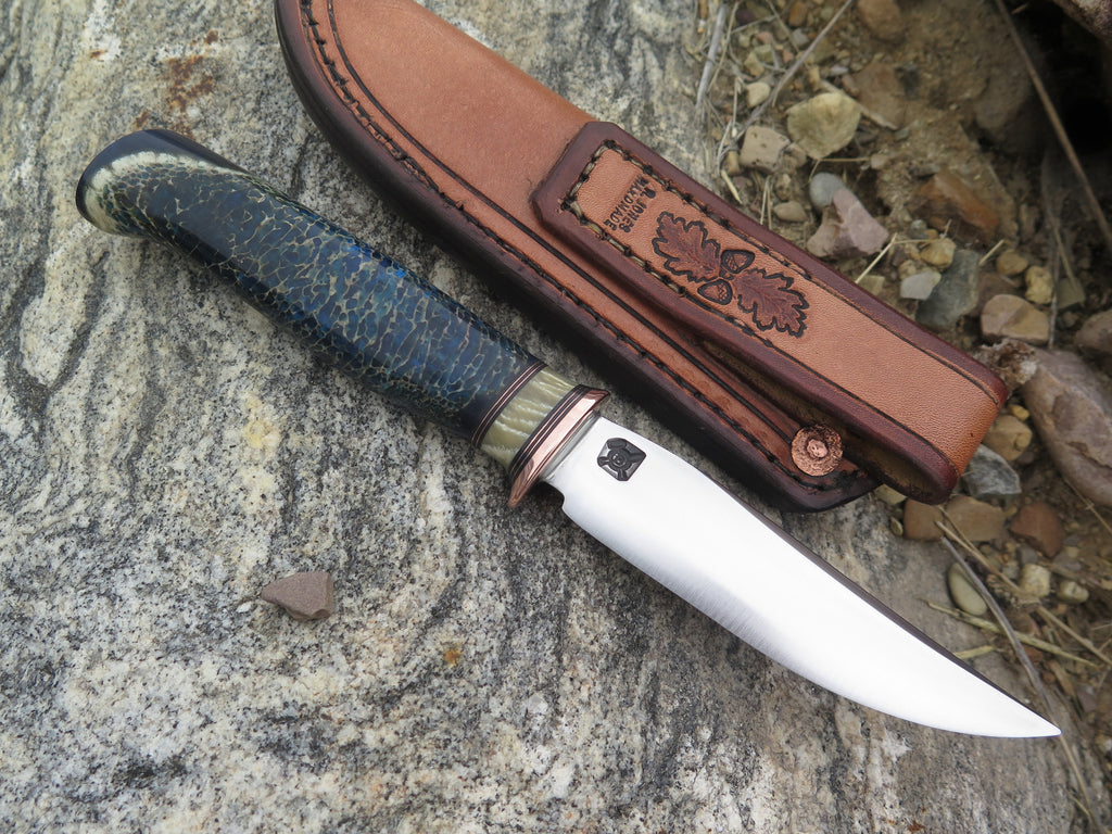 Giraffe Bone and Musk Ox Boss Stainless Trout & Bird w/ Mudbone pouch
