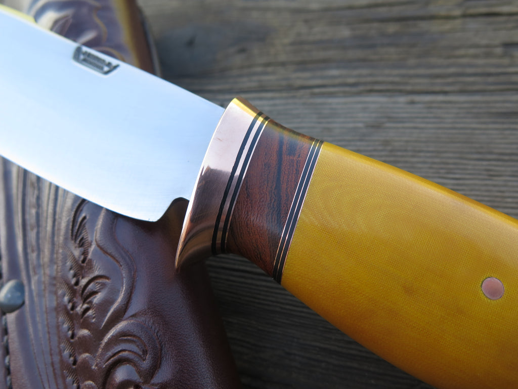 Yellow Canvas Micarta & Ironwood Woodcraft