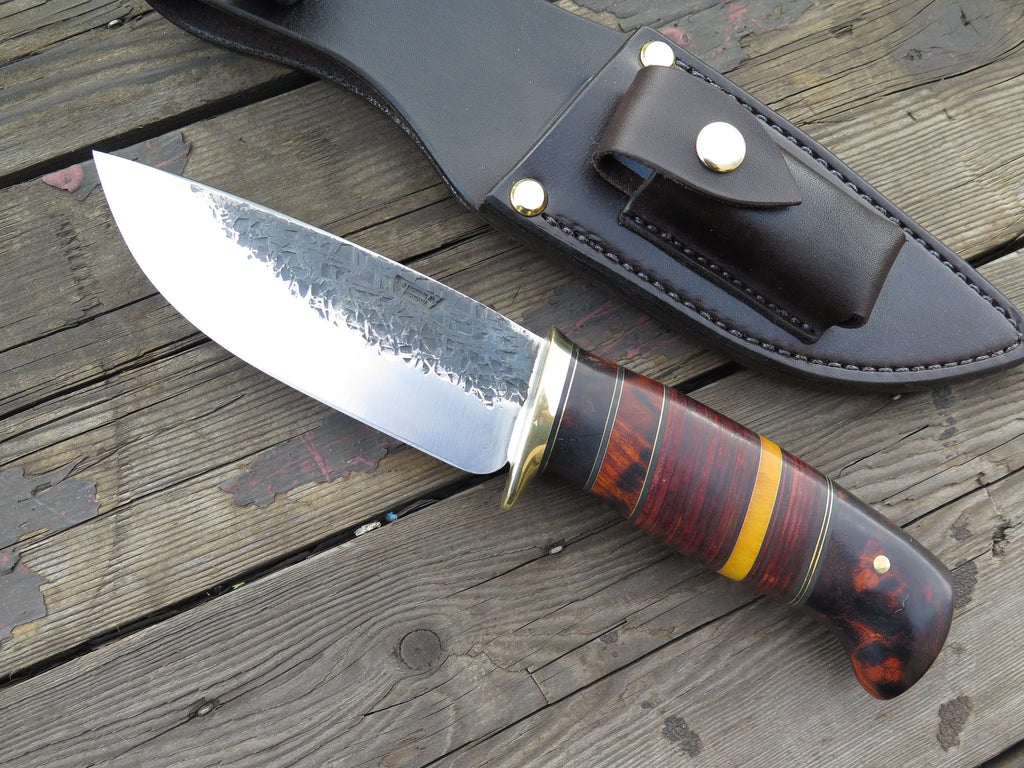 Premium Desert Ironwood, Horsehide and Yellow Micarta XL Drop Point