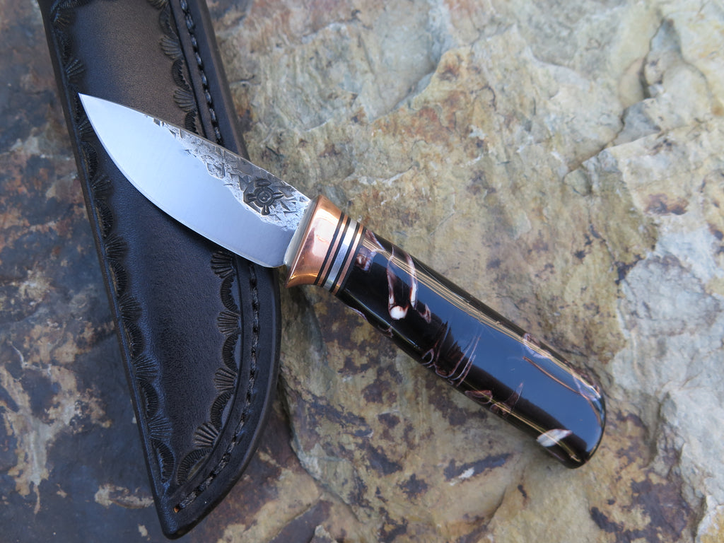 Stabilized Zebra Molar Pocket Knife