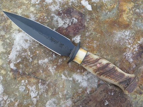 Premium Dall Sheep & Fossil Walrus Blued Boot Knife