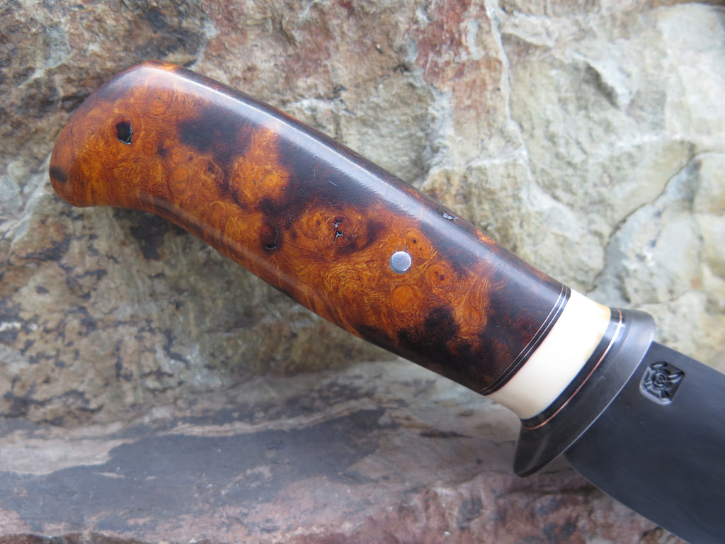 Premium Ironwood Burl and Walrus Blued Drop Point