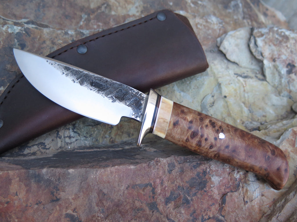 Redwood Burl and Walrus Ivory Drop Point