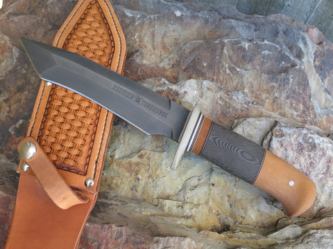 Custom Shop Behring Technical Camo and Natural Micarta Bushido