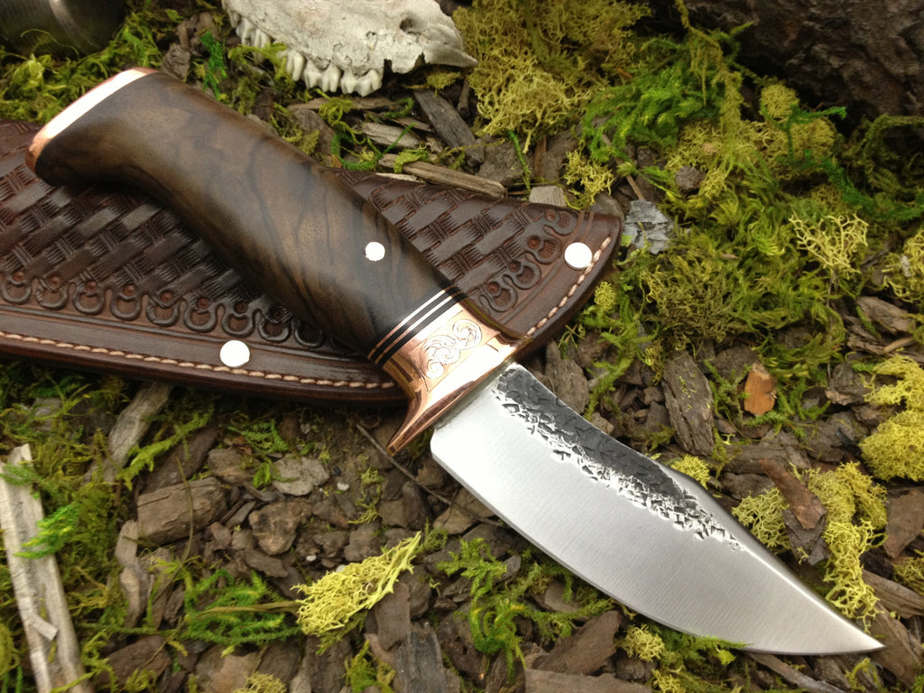 Clip Point Hunter w/ Engraved Copper Bolsters and Exhibition Walnut