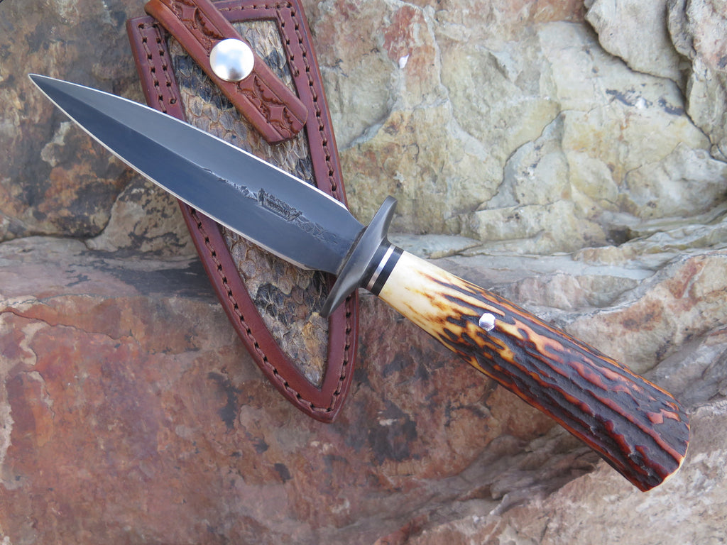 Classic Sambar Stag Blued Dagger w/ Rattlesnake inlay