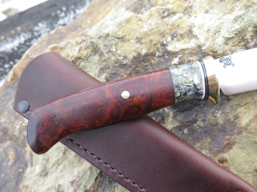 Premium Desert Ironwood Burl and Stabilized Sea Shell Little Hunter