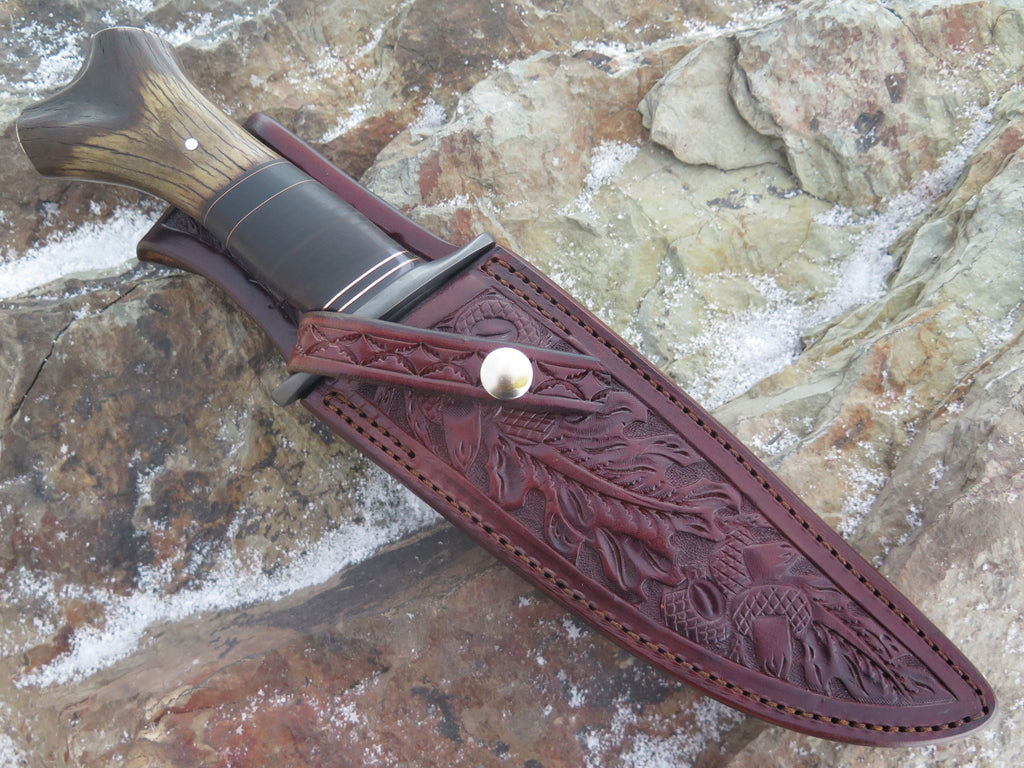 Crotch Stag & Horsehide Blued Double Edge Fighter