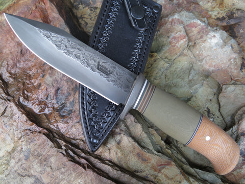 Natural Canvas & OD G10 Blued Drop Point