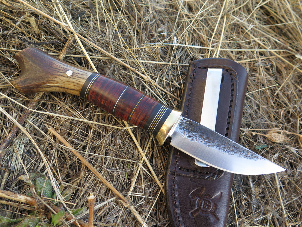 Crotch Stag and Horsehide Pocket Knife
