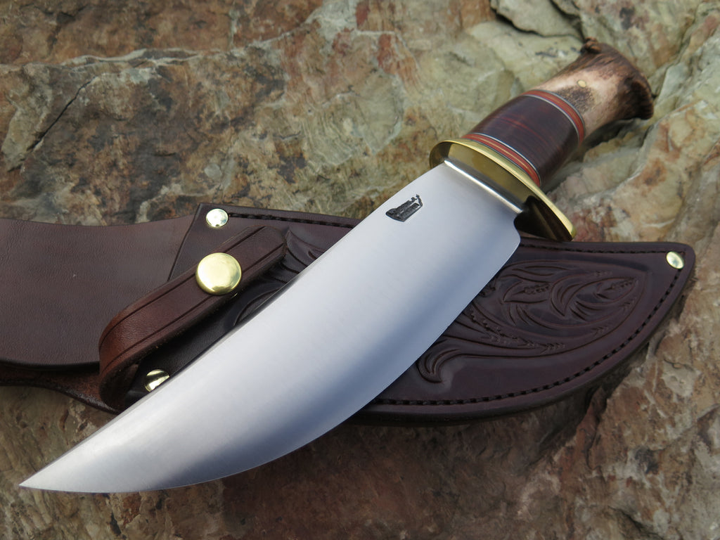 Premium Mule Deer Crown and Horshide Camp Knife