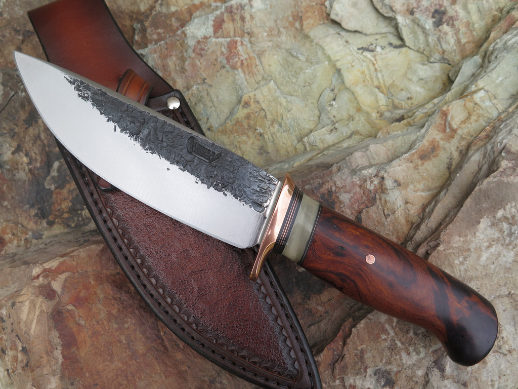 Premium Desert Ironwood Burl and Dall Sheep XL Drop Point