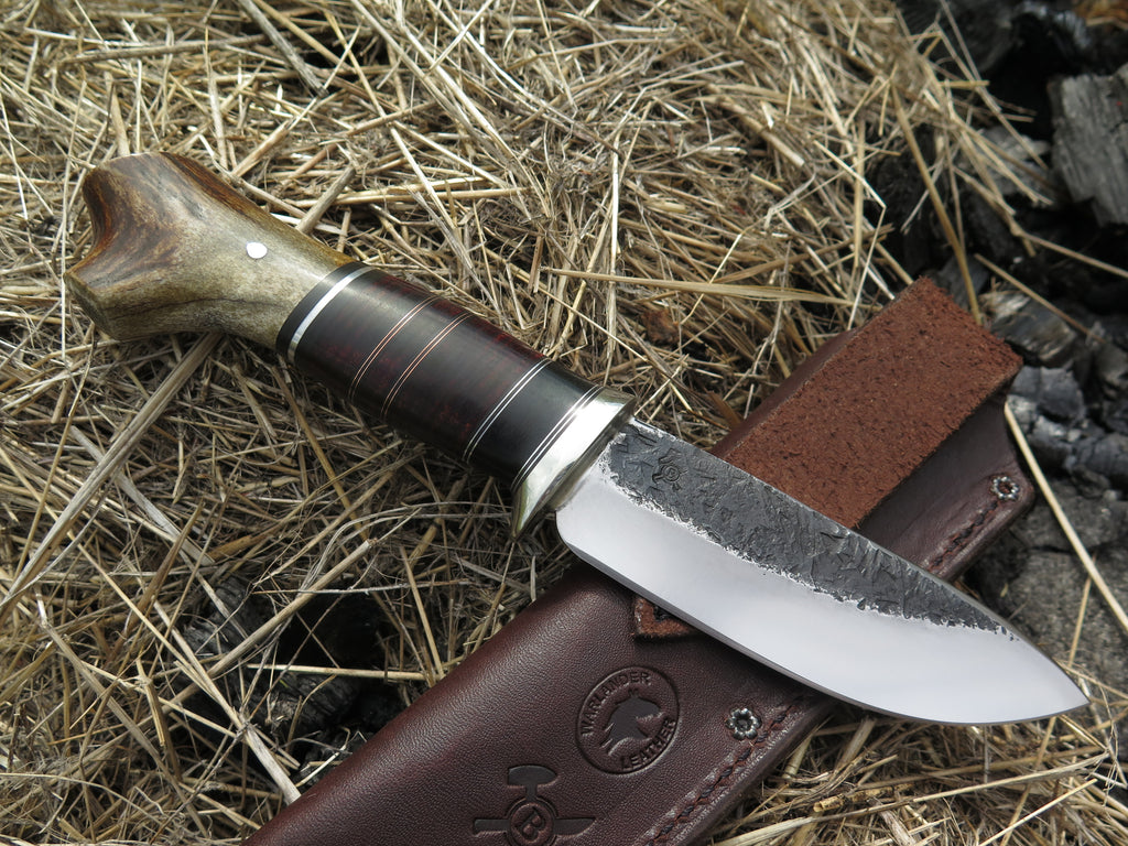 Crotch Stag & Horsehide Drop Point