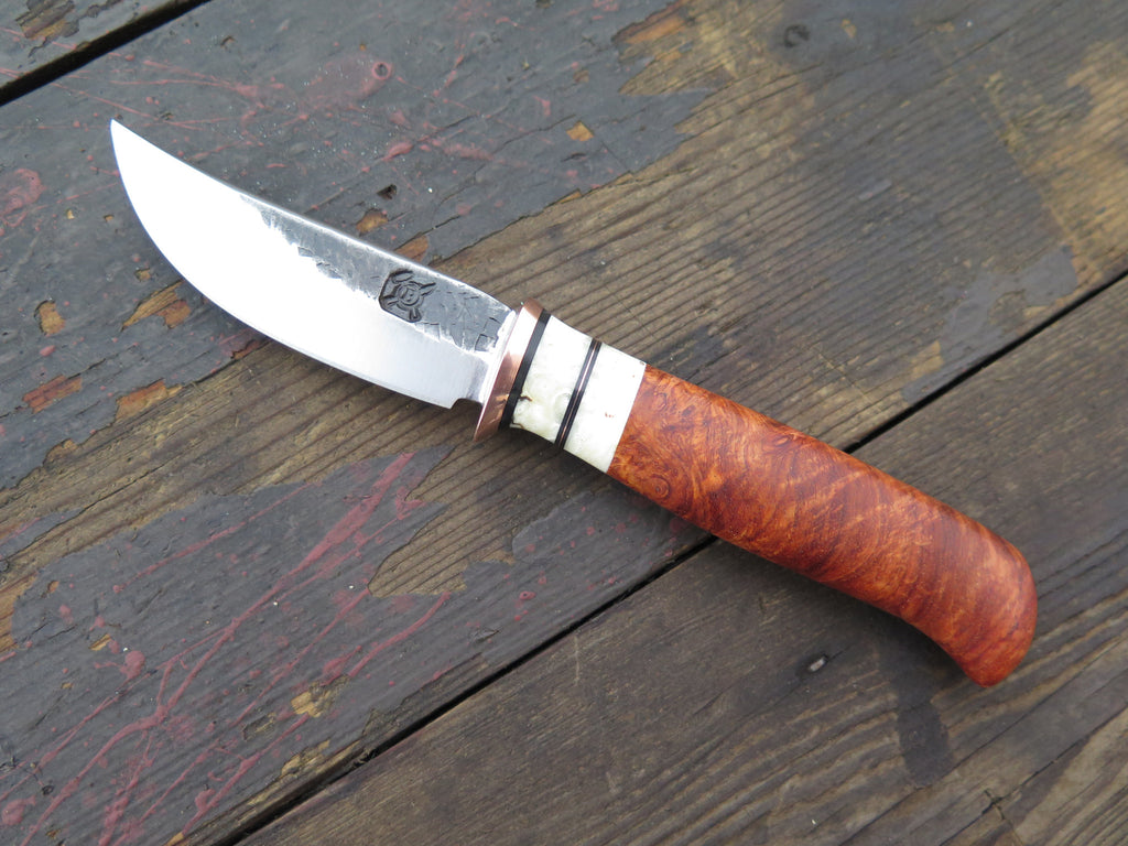 Amboyna Burl and Musk Ox Boss Pocket knife w/ exotic inlay