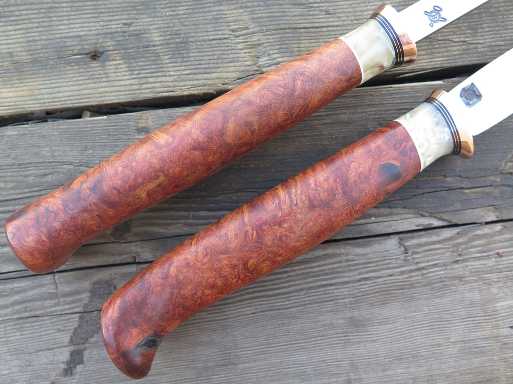 Amboyna Burl and Ox Boss Carving Set