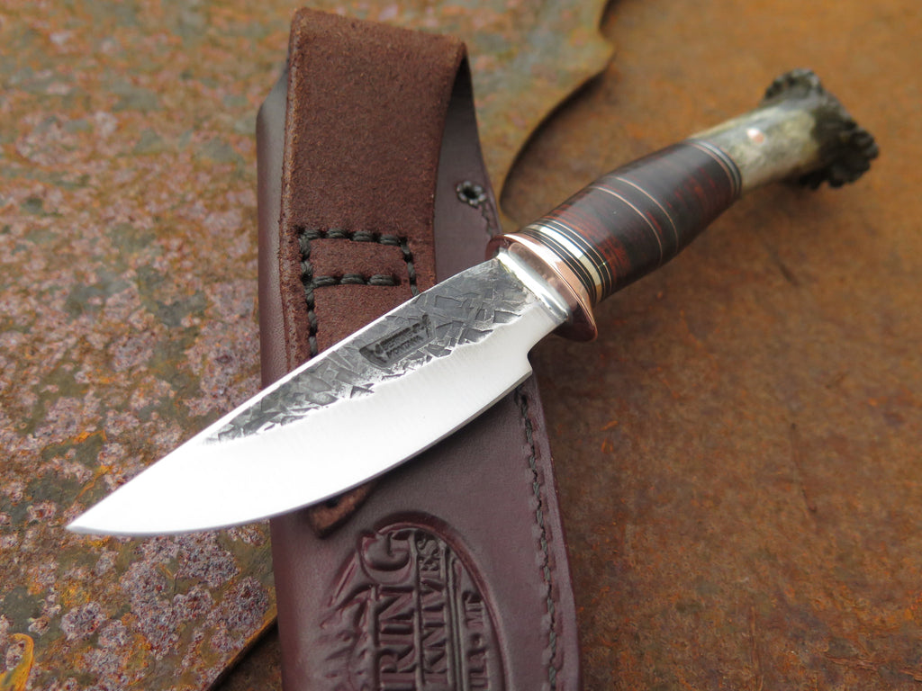 Crown Stag & Horsehide Drop Point