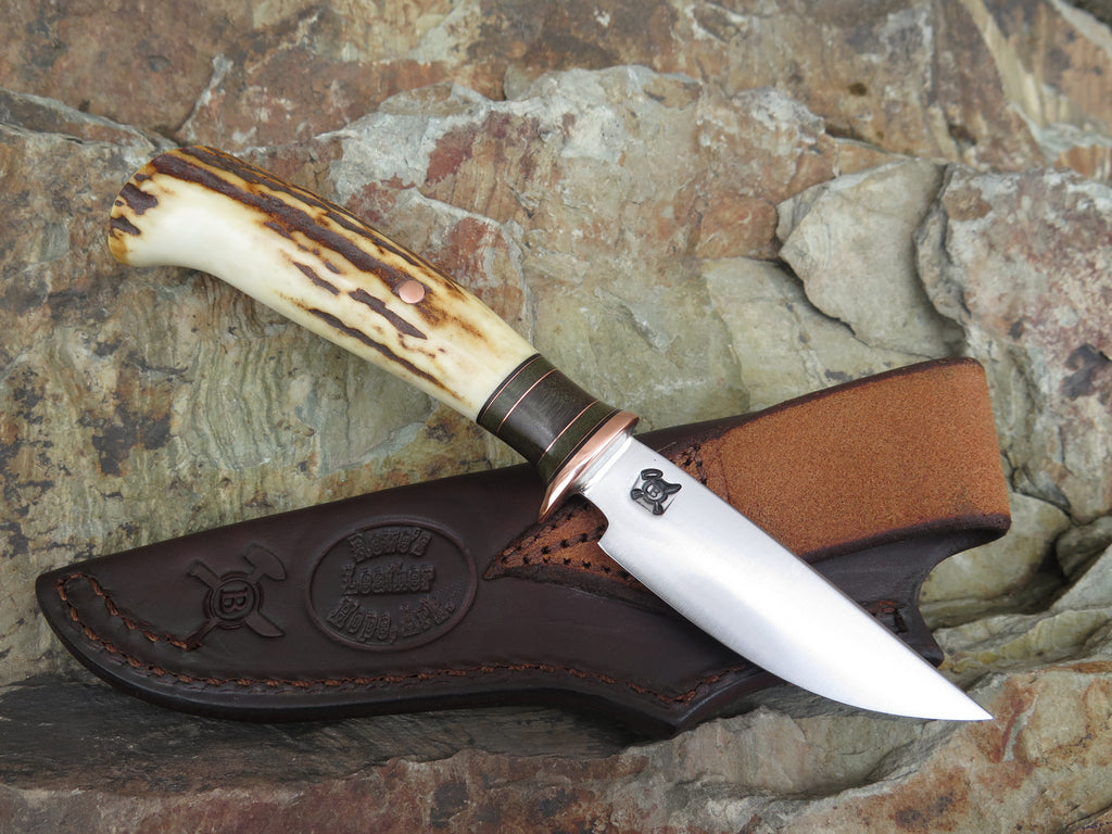 Sambar Stag Drop Point in Rowe's Leather