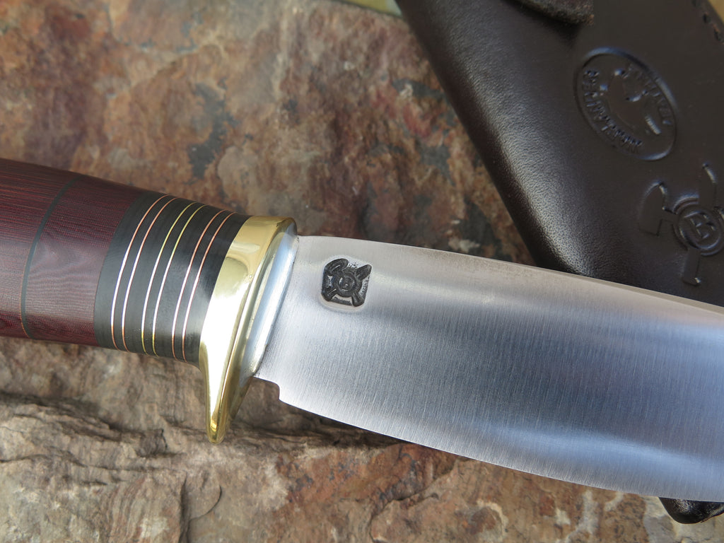 Maroon Micarta Stainless Drop Point