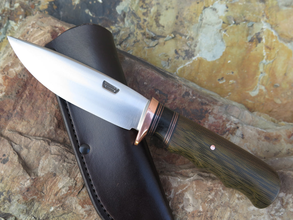 Green Fingergrip Micarta Stainless Drop Point
