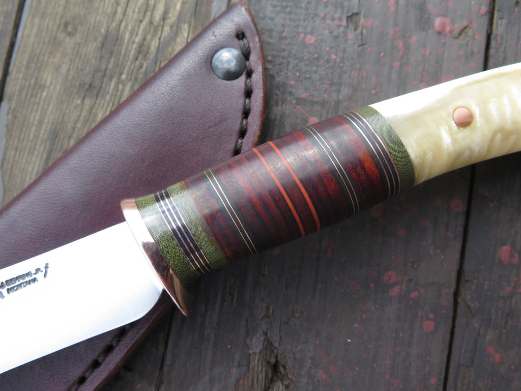 Musk Ox Boss and Horsehide Recurve Drop Point