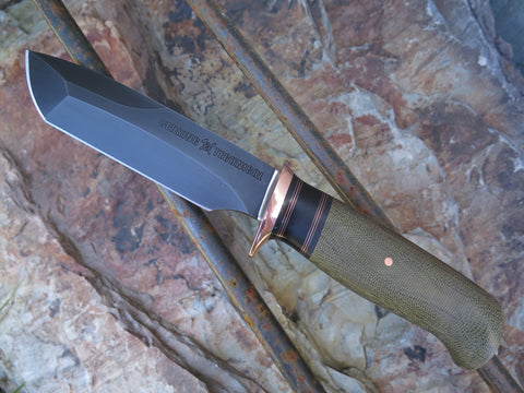 Custom Shop Green Micarta Valkyrie w/ Warlander Leather