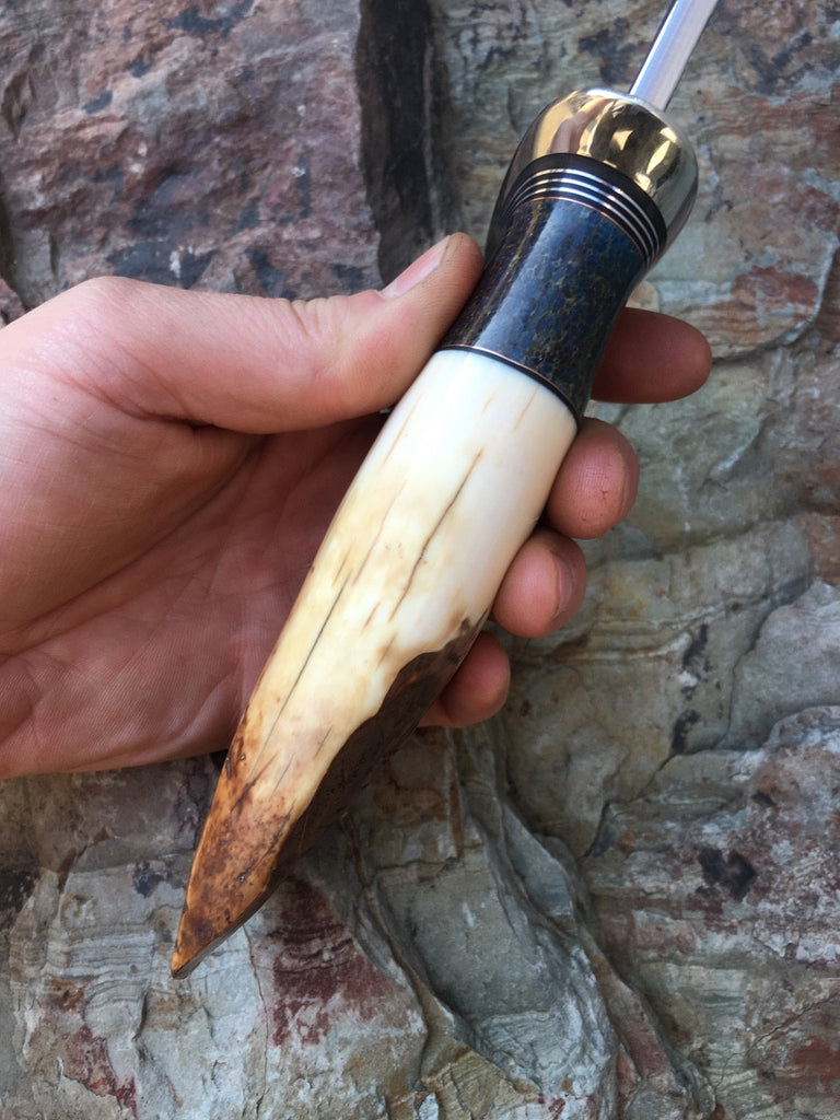 Artifact Walrus and Giraffe Bone Recurve Camp Knife