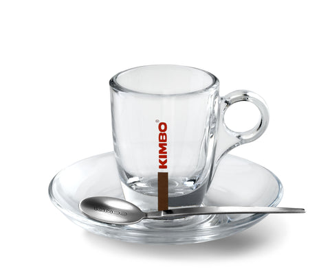 Kimbo Glass Espresso Cup & Saucer - Set of 6