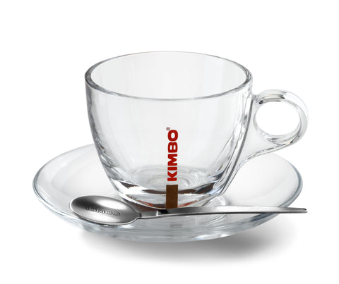 Kimbo Glass Cappuccino Cup & Saucer - Set of 6