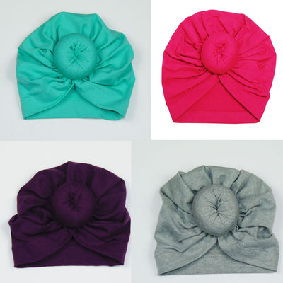 4 pieces Turban Beanie Front Knot 100% Cotton Baby Hat, Fits 3-6 months old.