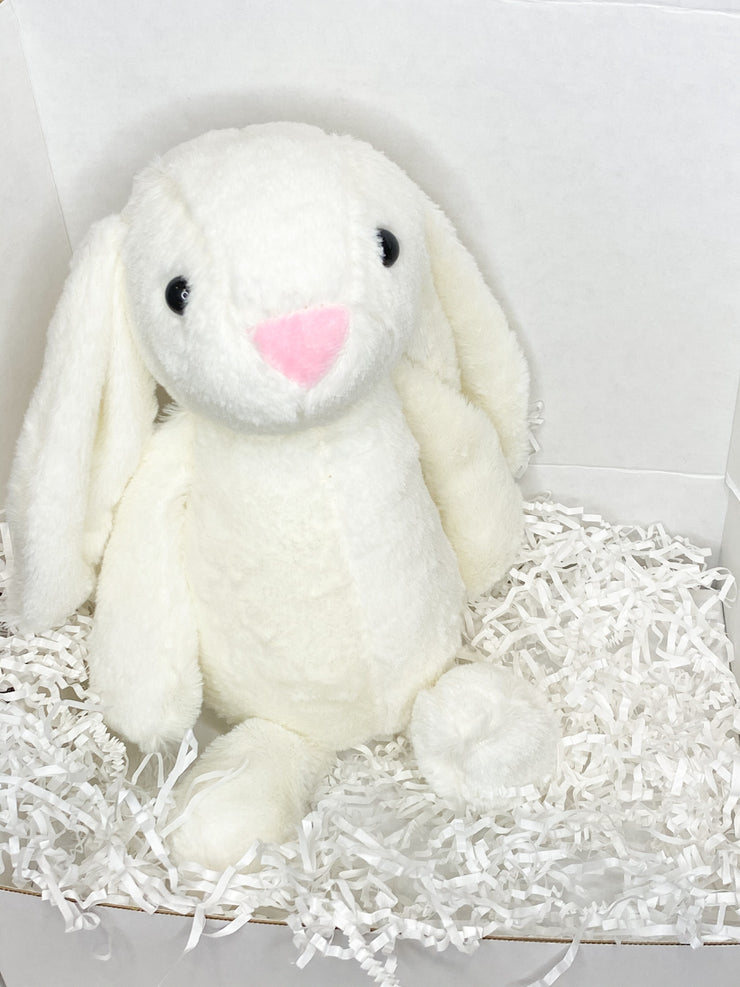 White Bunny Stuffed Animal, Medium, 12 inches